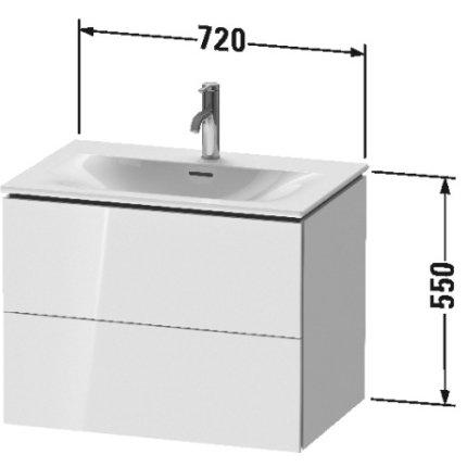 Dulap baza suspendat Duravit L-Cube 720x481mm, cu doua sertare, gri ciment mat