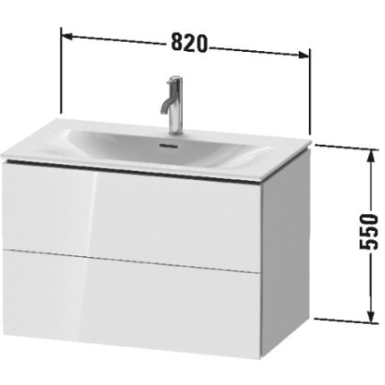 Dulap baza suspendat Duravit L-Cube 820x481mm, cu doua sertare, gri ciment mat