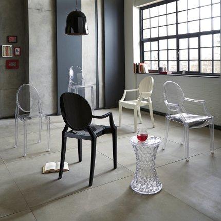Scaun Kartell Louis Ghost design Philippe Starck, alb lucios