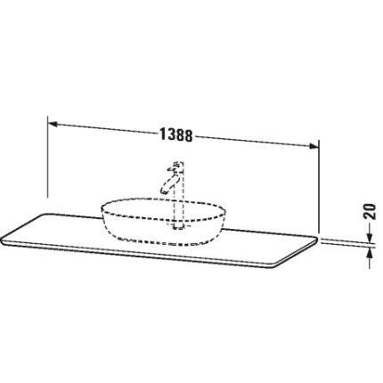 Blat compozit pentru lavoar Duravit Luv 1388x595mm, nisipiu structurat