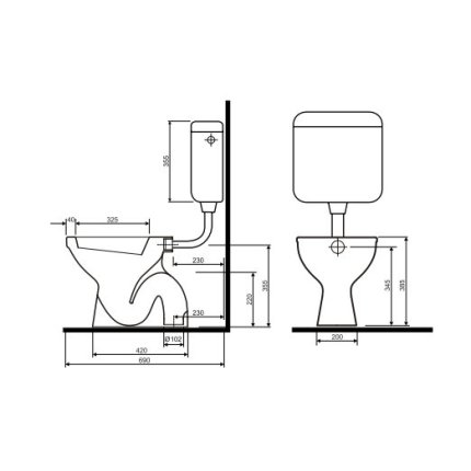 Vas WC Kolo Idol cu evacuare verticala