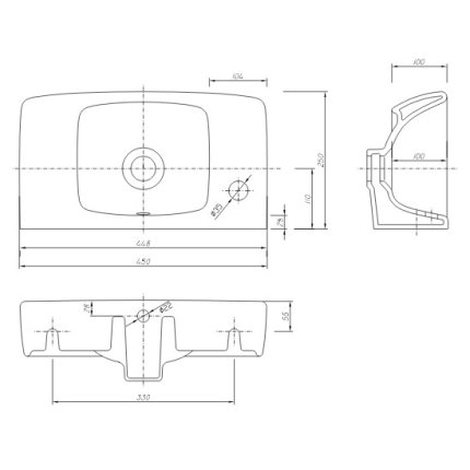 Lavoar Kolo Nova PRO 45x25cm, orificiu baterie stanga
