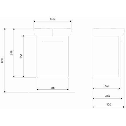 Set mobilier Kolo NOVA PRO dulap baza gri cenusiu si lavoar ceramic 50x42 cm