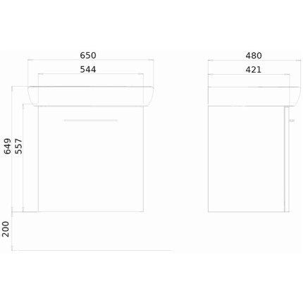 Set mobilier Kolo NOVA PRO dulap baza gri cenusiu si lavoar ceramic 65x48 cm