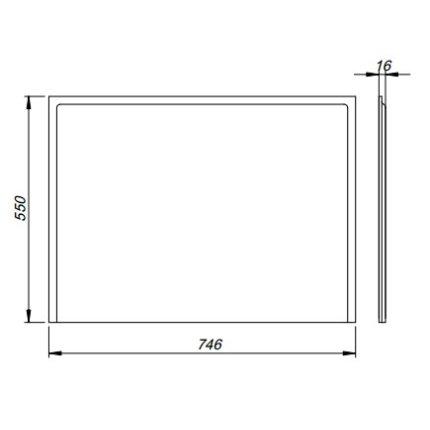 Masca laterala Kolo Uni2 80cm MDF cu invelis PVC, pentru cazi rectangulare