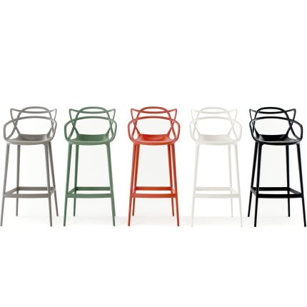 Scaun inalt Kartell Masters Stool design Philippe Starck & Eugeni Quitllet, 65cm, verde salvie