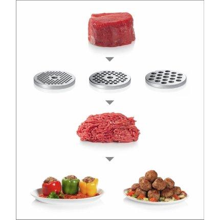 Masina de tocat Bosch MFW68660 4.3kg/min, storcator rosii, accesoriu kebbe, razuit/maruntit, carnati, negru/silver