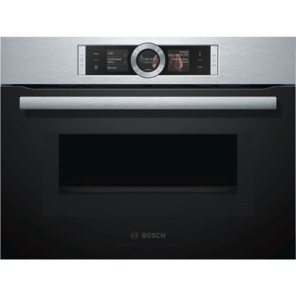 Cuptor electric incorporabil Bosch CMG656BS1 Serie 8 compact, multifunctional 12 functii, optiune microunde, EcoClean Direct, 45 litri, inox