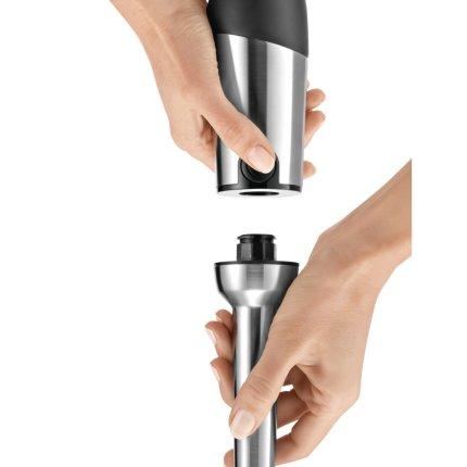 Blender de mana Bosch MSM87180 QuattroBladePro 750W, 12 trepte, buton Turbo. tocator XL, mini-tocator, tel, vas mixare, argintiu/alb