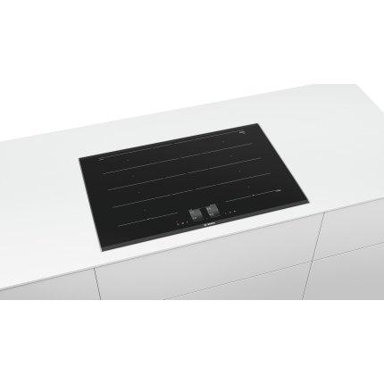 Plita cu inductie incorporabila Bosch PXY875KW1E FlexInduction Serie 8, Home Connect, 80cm, vitroceramica, 4 zone, senzor PerfectCook si PerfectFry, negru