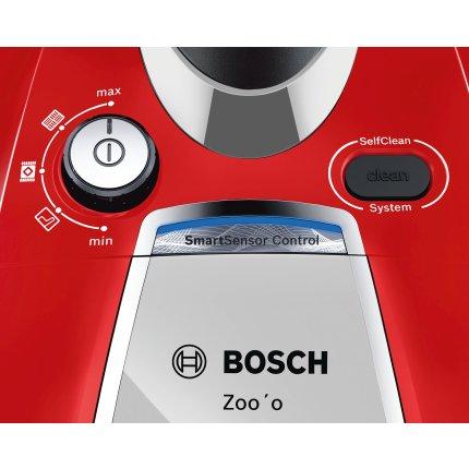Aspirator fara sac Bosch BGS7MSZOO Serie 8 Zoo'o ProAnimal, 850W, Smart Sensor Control, AirTubo, recipient praf 3 litri, argintiu/ rosu