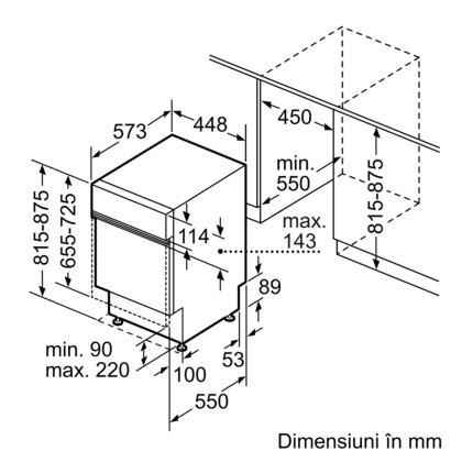 Masina de spalat vase incorporabila Bosch SPI46MS01E Serie 2, 45cm, 10 seturi, 6 programe, clasa A+, SuperSilence