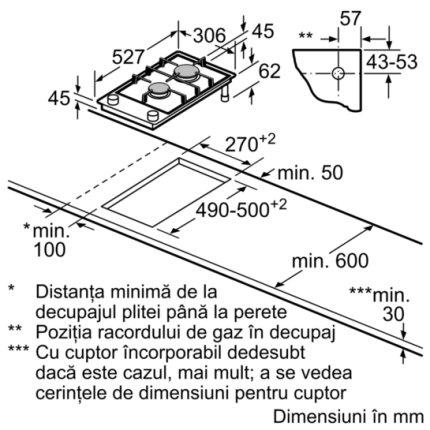 Plita gaz incorporabila Bosch Domino PRB3A6D70 Serie 8, FlameSelect, 30cm, vitroceramica, 2 arzatoare, gratare fonta, negru