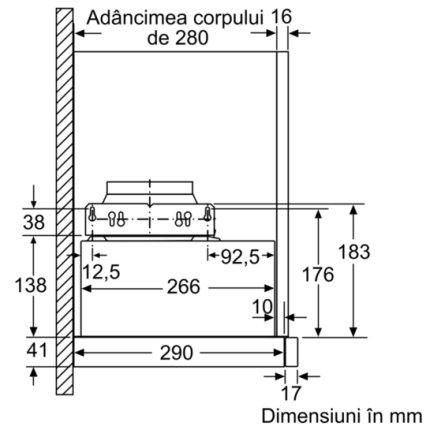 Hote telescopica incorporabila Bosch DFM064W50 Serie 2, 60cm, 3 trepte, 400 mc/h, argintiu metalizat