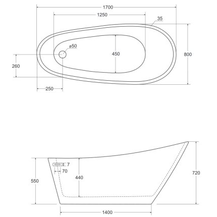 Cada free-standing Besco Melody 170x80cm alba