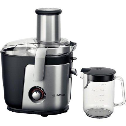 Storcator de fructe si legume Bosch MES4010 1200W, tub alimentare XXL, cutit ceramic, negru-silver
