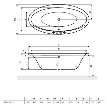 Cada ovala free-standing Radaway Mesara 190x96cm