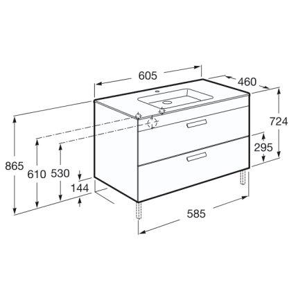 Set mobilier Roca Debba Standard dulap baza cu 2 sertare 60cm alb si lavoar