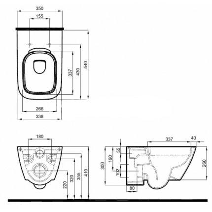 Set vas wc Kolo Modo Rimfree cu capac Slim inchidere lenta