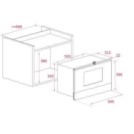 Cuptor cu microunde incorporabil Teka ML 822 BIS cu 22 litri, 9 retete presetate, 850W, baza ceramica, grill 1200W rabatabil, balama dreapta, inox anti-pata/cristal negru