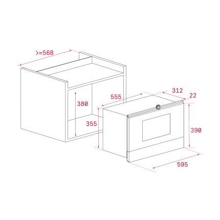 Cuptor cu microunde incorporabil Teka ML 8220 BIS L BK stanga 850W, 9 retete presetate, baza ceramica, grill rabatabil 1200W, Cristal Black/ Infinity Glass