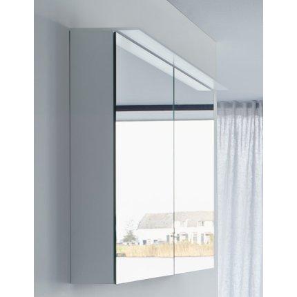 Dulap cu oglinda si iluminare Duravit Happy D.2 76x100x13.8cm, stejar inchis