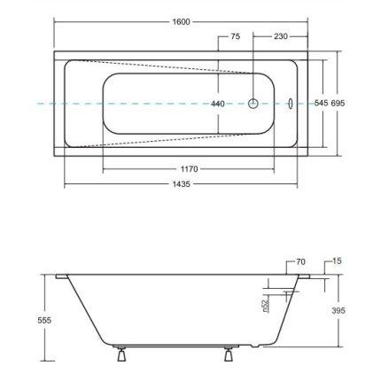 Cada baie rectangulara Besco Modern Slim 160x70cm, acril