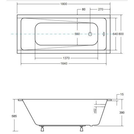 Cada baie rectangulara Besco Modern Slim 180x80cm, acril