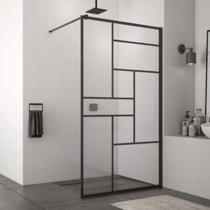 Cabina de dus Walk-In SanSwiss Easy STR4P 100 cm, sticla securizata Loft 73, 8 mm, profil negru mat