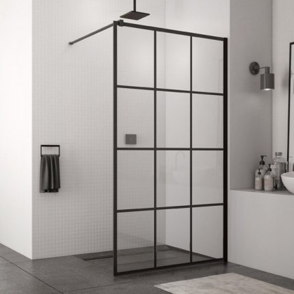 Cabina de dus Walk-In SanSwiss Easy STR4P 90 cm, sticla securizata Loft 75, 8 mm, profil negru mat