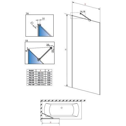 Paravan cada Radaway Modo Black Frame PNJ, un element fix, 70cm