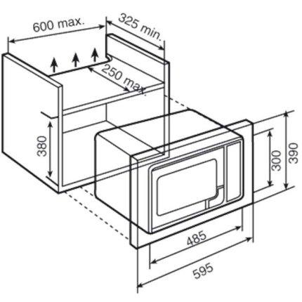 Cuptor cu microunde incorporabil Teka MS 620 BIS 20 litri, 700W, grill, timer, inox anti-pata