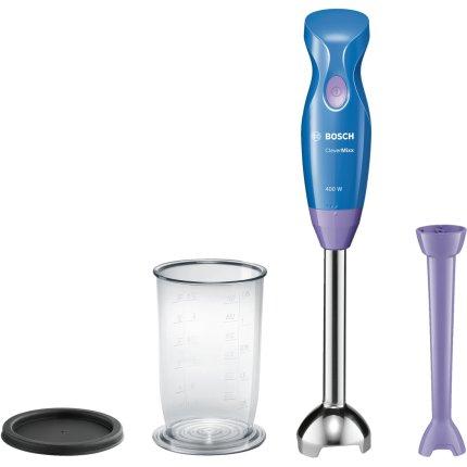 Blender de mana Bosch MSM2413V CleverMixx Baby, 400W, 1 viteza, picior SlimFoot, vas gradat, albastru - violablue