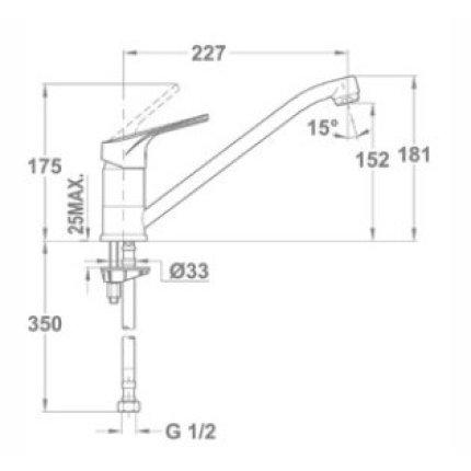 Set Teka Topasbeige : Chiuveta Tegranit Kea 45B TG 1B 1D, 860x435 mm + Baterie bucatarie MTP 913 Granit