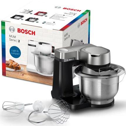 Robot de bucatarie Bosch MUMS2VM00 Serie2, 900W, 7 trepte + Impuls, bol inox 3.8 litri, negru-argintiu