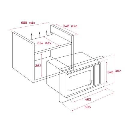 Cuptor cu microunde incorporabil Teka MWE 225 FI 20 litri, grill, 800W, inox