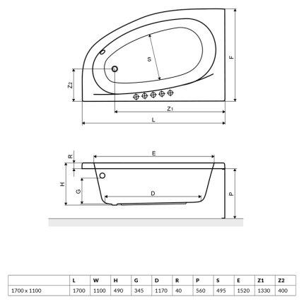 Cada baie asimetrica Radaway Naxia 170x110cm, acril, orientare stanga