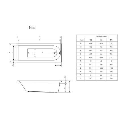 Cada baie rectangulara Radaway Nea 160x70cm, acril