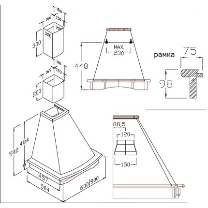 Hota semineu Teka Nubero 60cm, 3 trepte, free outlet 650 m3/h, bej rustic