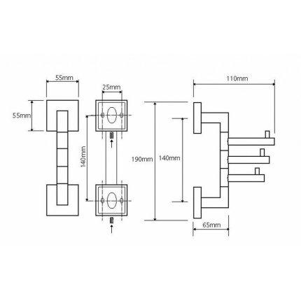 Suport prosop 3 carlige rotative Bemeta Beta