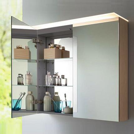 Dulap cu oglinda si iluminare Duravit Happy D.2 76x120x13.8cm, bej decor linen