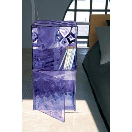 Etajera modulara Kartell Optic design Patrick Jouin, 40x40x41cm, gri