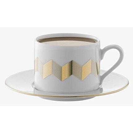 Set 4 cesti si farfuriute ceai LSA International Chevron 0.25litri, Gold Assorted