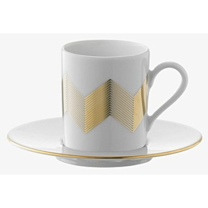 Set 4 cesti si farfuriute cafea LSA International Chevron 0.1litri, Gold Assorted