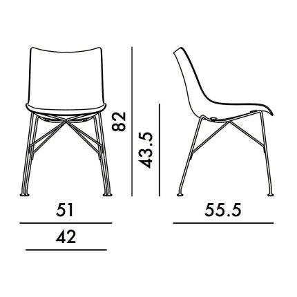 Scaun Kartell Smart Wood P/Wood design Philippe Stark, Basic Veneer, Dark wood, picioare negre