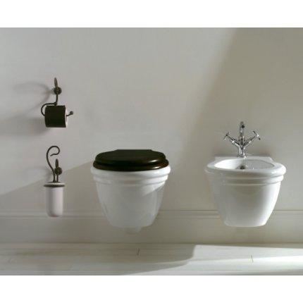 Perie WC cu suport ceramica Globo Paestum, metal antichizat