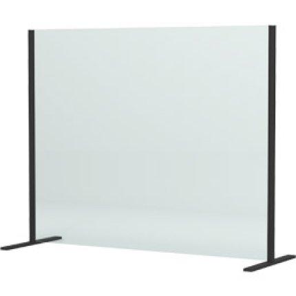 Panou protectie birou SanSwiss 100x80cm, sticla securizata 6mm, negru mat