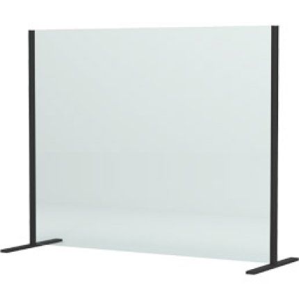 Panou protectie birou SanSwiss 140x80cm, sticla securizata 6mm, negru mat