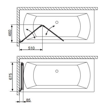 Paravan cada Radaway Carena PND/L, doua elemente mobile, 130 cm, deschidere stanga