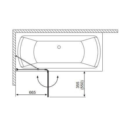 Paravan cada Radaway Torrenta PND/L, element fix + element mobil, 101 cm, orientare stanga, profil crom